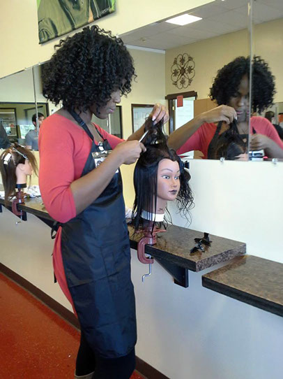 Styling hair at Alternative Visions